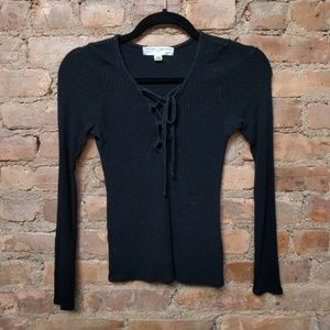 Urban Outfitters Black Lace Up Long Sleeve Shirt
